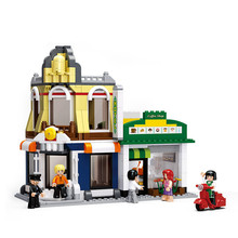 Sluban Town  Apartment House Gym Restaurant DIY Mini Building Blocks Bricks Legoingly Toy for Children no Box lepin 15003 15010 15011the town hall parisian restaurant detective s office building blocks bricks 10224 10243 10197