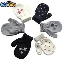 Nowe dziecięce rękawiczki zimowe dziecięce ciepłe antypoślizgowe rękawiczki dziecięce Offset śliczne pełne rękawiczki z palcami dla chłopca 0-4T dziecięce rękawiczki tanie tanio wecute Akrylowe Acrylic 1577 13*7cm suit for 0-4year Drukuj Unisex 1pair
