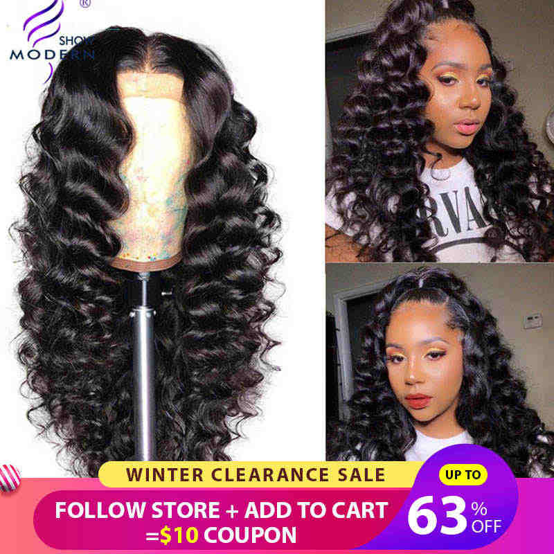 Modern Show Hair 13*4 Brazilian Loose Wave Wigs Lace Front Human Hair Wig Pre Plucked 150% Density High Radio Remy Hair Wig