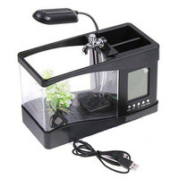 New USB Desktop Mini Fish Tank Aquarium LED Lamp Light LCD Screen Clock for Home Office Black White Aquarium HFing
