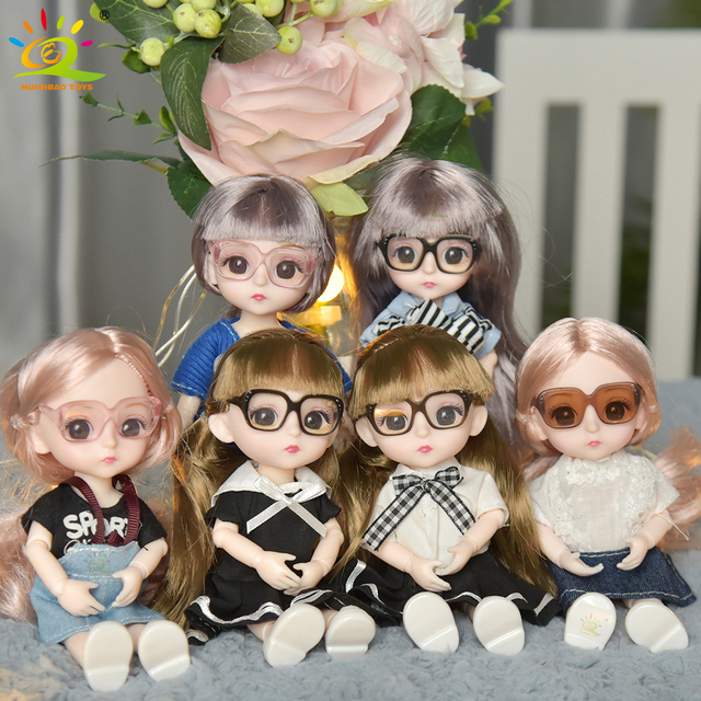 6inch Princess Girl Doll bjd Boneca Dolls normal/joint body Ball Jointed Reborn Glasses Dolls Toys Clothes Shoes Gift For Girls 3