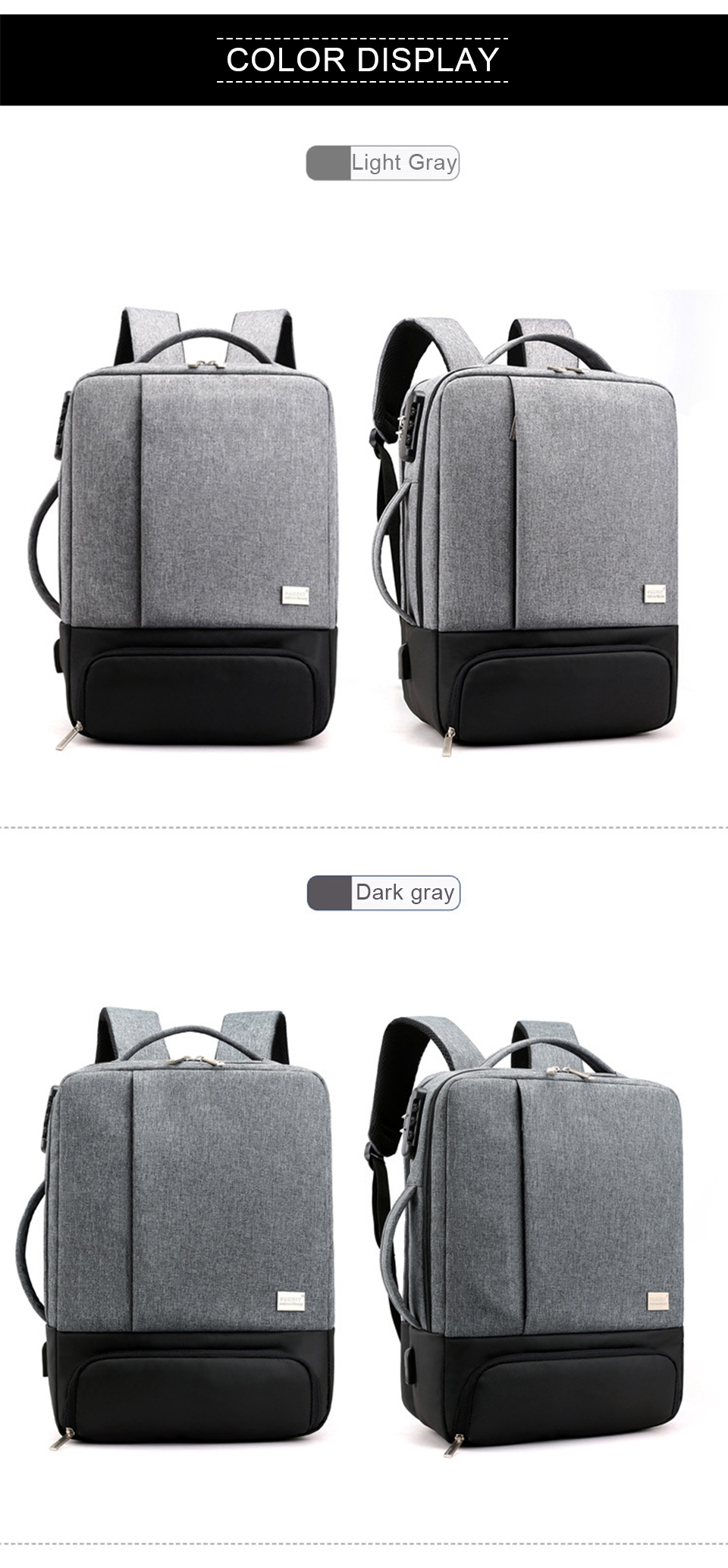 Mens Backpack Laptop Backpacks 17 Inch 15.6'' Anti Theft Male Business Bags Notebook Trip Back Pack Office Women Travel Bagpack (11)