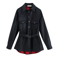 Winter Coats Women Autumn PU Leather Fashion Lapel Jackets Sexy V Neck Belt Lace up Solid Casual Slim Overcoats Female Outer