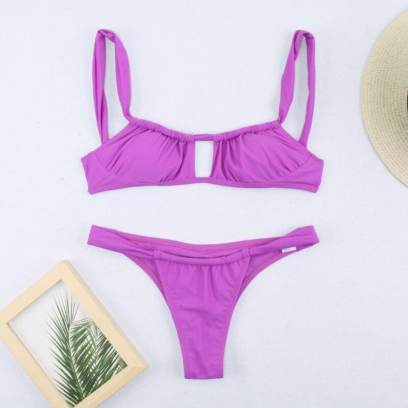 H39974f7cdb6944a4bcb008596dabb38de Miyouj Sexy Bandeau Bikini Bandage Swimwear Women Solid Swimwear 2019 Bathing Suits Rings Bikini Set Hollow Out Biquini Swimwear