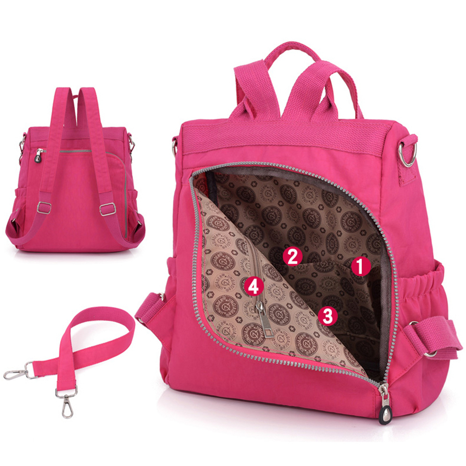 Image 5 - 3 in 1 Women Backpack Solid Fashion School Bags For Girls Nylon Waterproof College Students Backpack Shoulder Travel Causal BagBackpacks   -