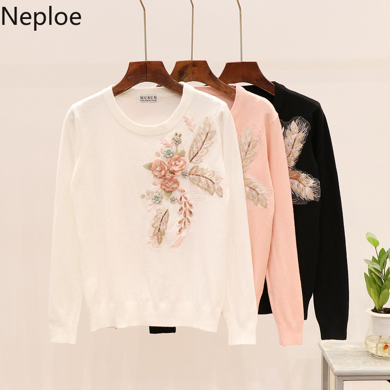 Neploe Sweater Embroidery Pull Sequin Harajuku Floral Femme Knit Jumper Korean 3D 54409