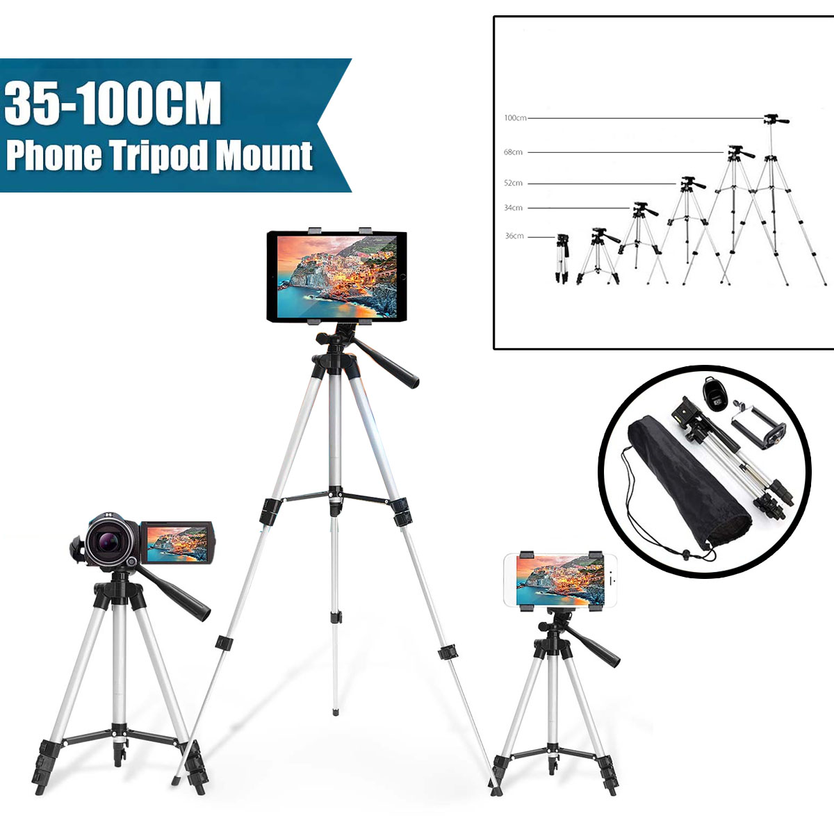 36-100cm Aluminium Adjustable Tripod Stand Mount Holder Clip For Phone for Canon Camera for iPhone XR XS for Samsung S10 S10E