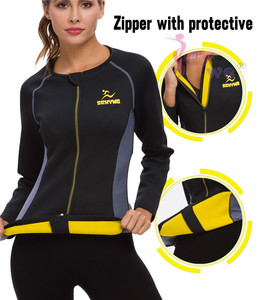 Image 4 - SEXYWG Slimming Body Shaper Fitness Tight Women Neoprene Sauna Suit Waist Trainer Shapewear Zipper Yoga Shirt Long Sleeve Blouse