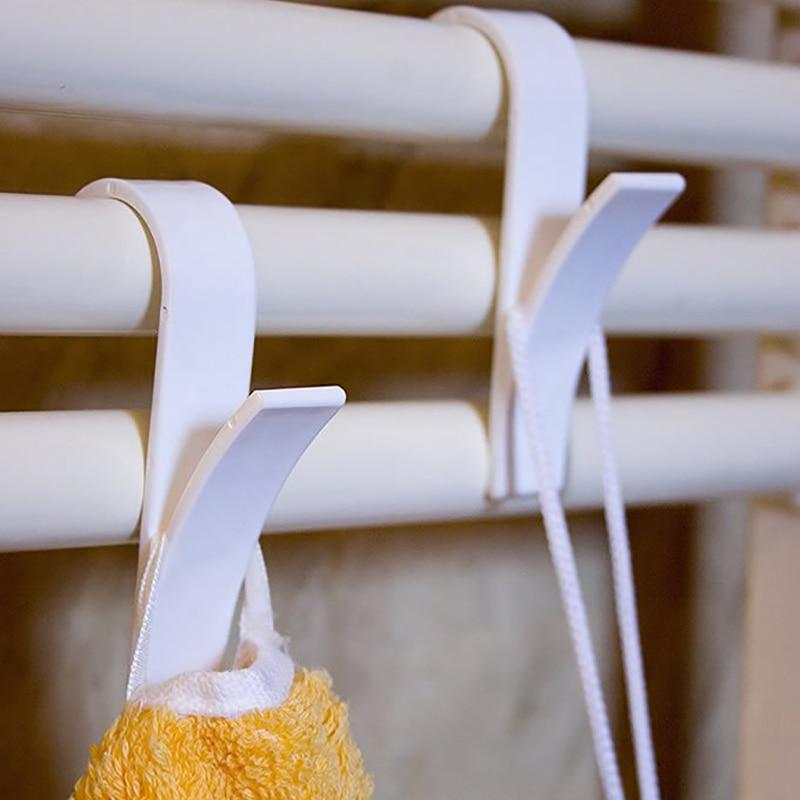 1/2/4/6 stücke Kunststoff Haken für Beheizte Handtuch Heizkörper Schiene Schal Kleiderbügel Weiß Transparent Tür Haken bad Haken Halter