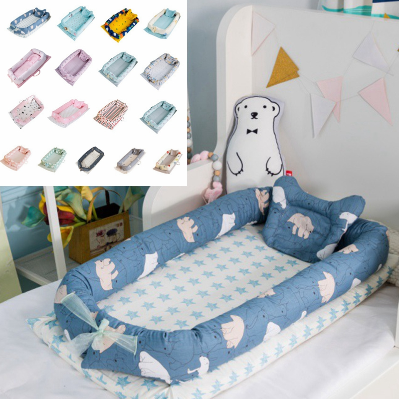 Newborn Baby Portable Removable Washable Crib Travel Bed Nest Bed Crib Cotton New Crib Travel Bed Children Infant Kids Bumper