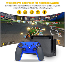 Blue Wireless Switch Pro Controller High Performance Gamepad for Nintendo Console with Gyro Axis Turbo and Dual Vibration