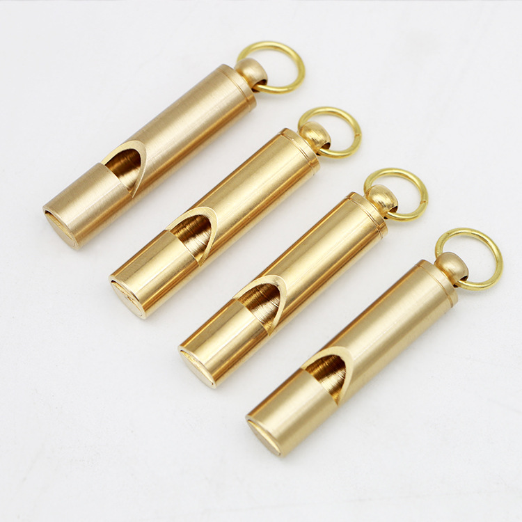4pcs/lot Brass Alloy Outdoor Survival Whistle Military Supplies Training Whistle Survival EDC Tools Whistle Keychain