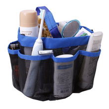 Quick Dry Storage Bags Hanging Mesh Bathroom Bag Shower Tote Caddy Cosmetics Organizer with 8 Pockets Portable Bath