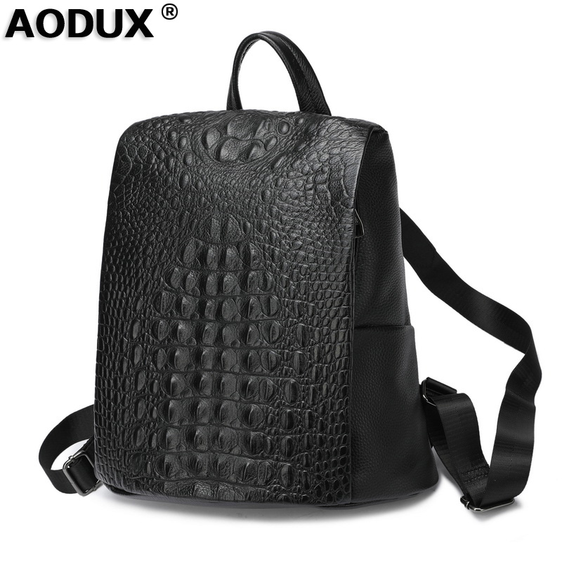 Aodux 100% Genuine Cow Leather Crocodile Pattern Silver Accessories Women's Backpack Lady First Layer Cowhide Female Book Bags