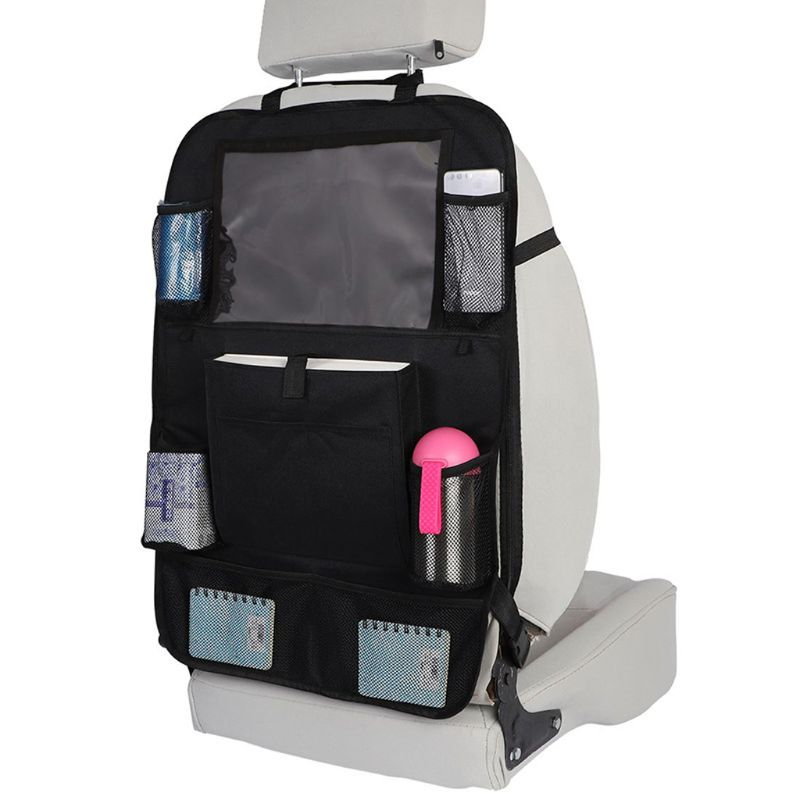 Car Backseat Organizer With Screen Tablet Holder + 9 Storage Pockets Kick Mats Car Seat Back Protectors Great Travel Accessories