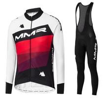 цена на 2020 Male Cycling Jersey Gel Pad Bib Pants Kits Winter Long Sleeve Jersey Sets Thermal Fleece Bicycle Clothing Sets MTB Ciclismo