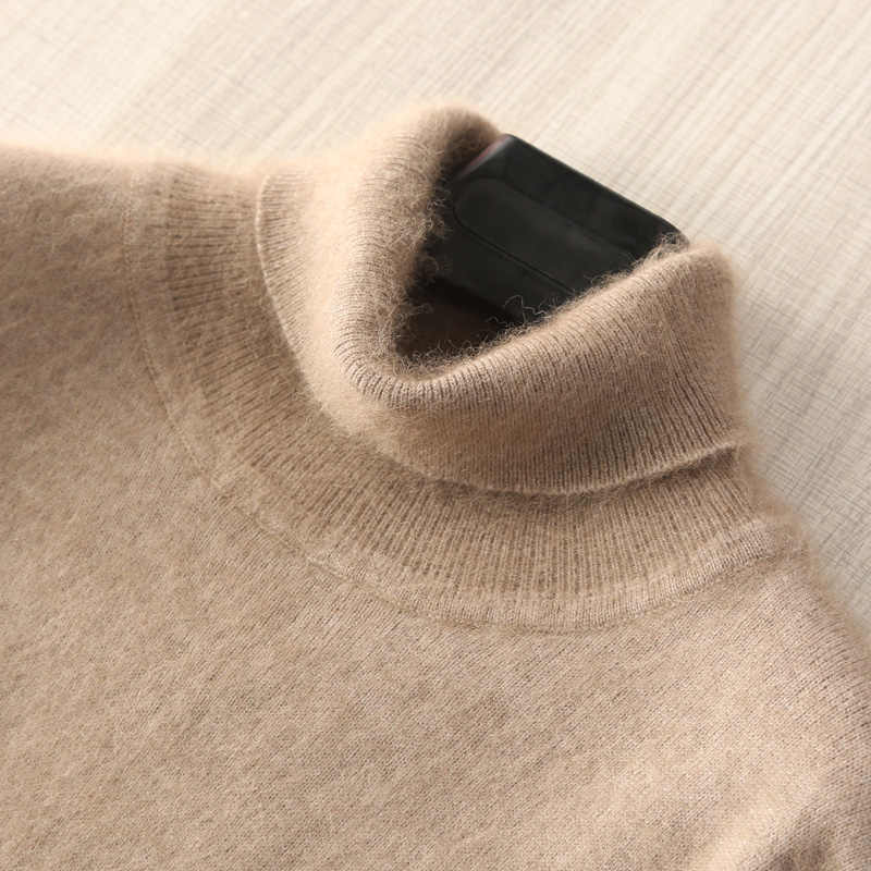 Man Jumpers 100% Mink Cashmere Knitted Sweaters Hot Sale Soft Turtleneck Winter Thick Warm Jumpers 8Colors Men Sweater