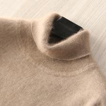 Homme pulls 100% vison cachemire tricoté chandails offre spéciale doux col roulé hiver épais chaud pulls 8 couleurs hommes chandail