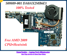 Originele 509809-001 Voor Hp Pavilion CQ42 CQ62 G42 G62 Amd Laptop Moederbord DA0AX2MB6E1 DDR3 Gratis Cpu En Heatsink fan Getest