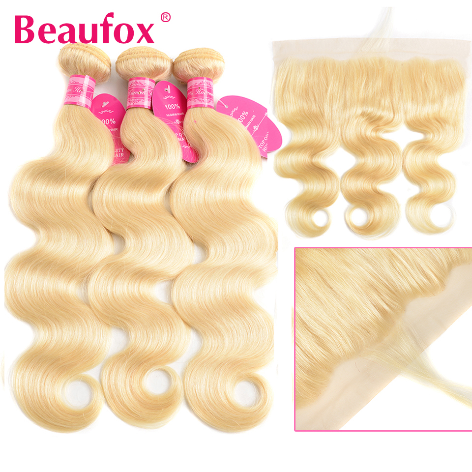 Beaufox 613 Malaysian Body Wave Bundles With Frontal 613 Bundles With Frontal Remy Blonde Human Hair Bundles With Closure