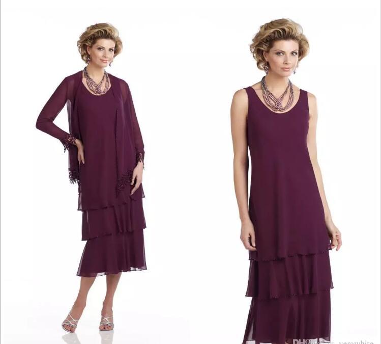 Scoop Tea-Length Evening Gown Vestido Novia 2018 Elegant Burgundy Chiffon Lace Mother Of The Bride Dresses With Free Jacket