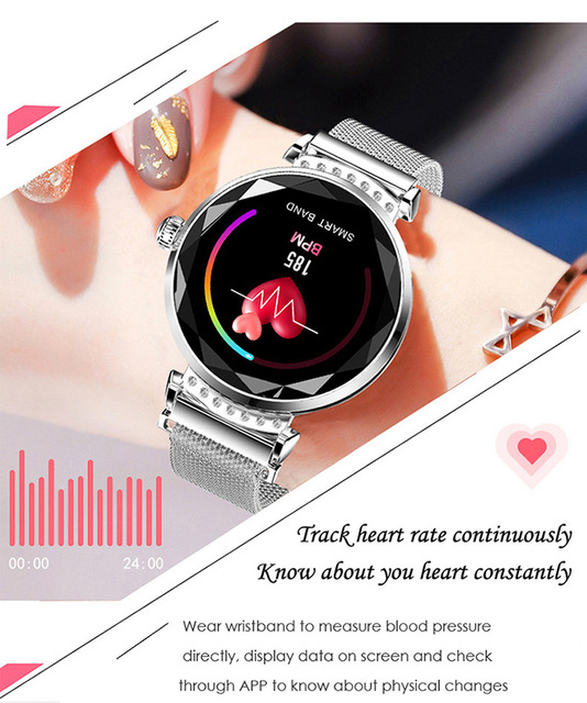 2019 New Luxury Smart Watch Fitness Bracelet Women Blood Pressure Heart Rate Monitoring Wristband Lady SmatWatch Gift For Friend