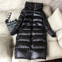 90% White Duck Down Jacket Women Thick Warm Long Winter Coat