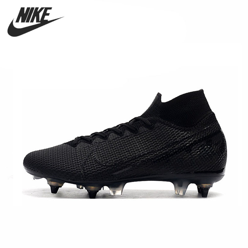 Nike Mercurial Superfly 7 Elite SG-PRO AC Flyknit <font><b>360</b></font> Sneakers Men High Ankle Football Cleats <font><b>Shoes</b></font> Mans Soccer Blue Boots image