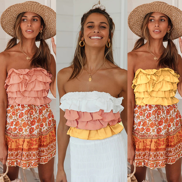 Milalit Cascading Ruffles Strapless Yellow Pink Mix Color Patchwork Slash Neck Short Sleeveless Tops with Backless Tie Ribbon 6