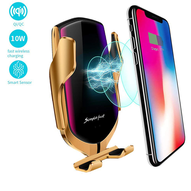Qi Wireless Charger Automatic Clamping 10W Car Wireless Charger For iPhone Xs Huawei LG Infrared  Car Phone Holder