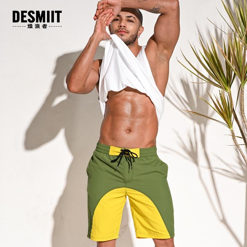 Desmiit Summer Mens Swimming Trunks Loose Beach Shorts Swimwear Surf Bathing Suit Fitness Sports Wear Swimsuit Maillot De Bain