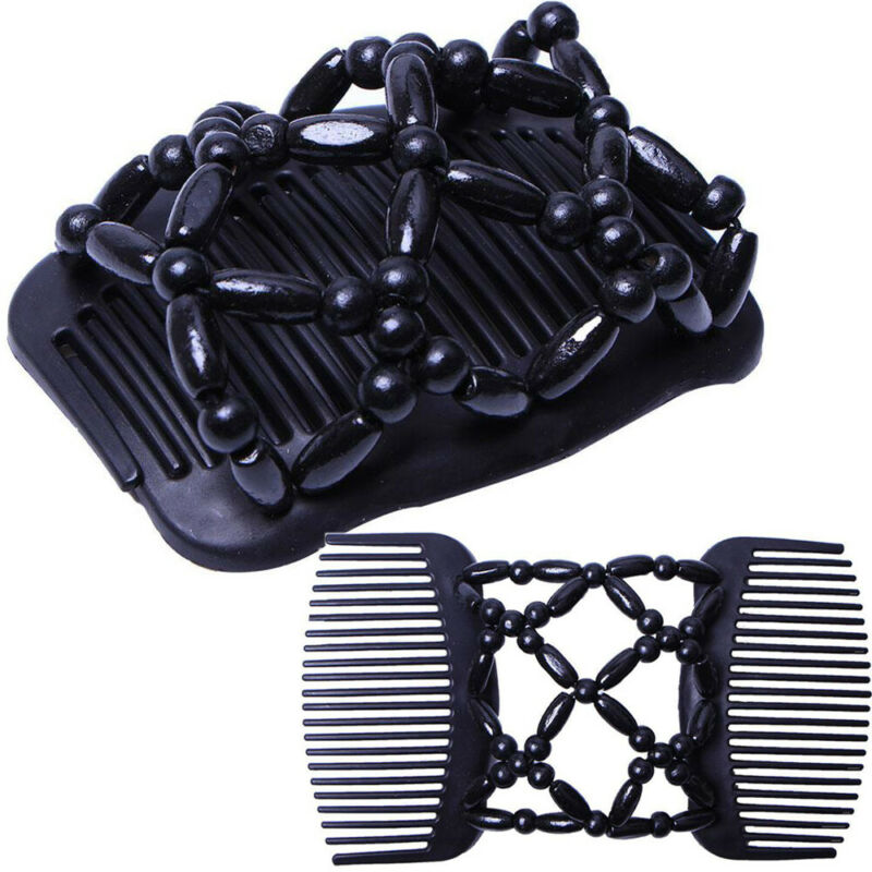 2020 HOT Magic Double Hair Comb Professional Beads Stretch Clip Hairpin Women Ladies Elasticity Hairpin Accessories Bead