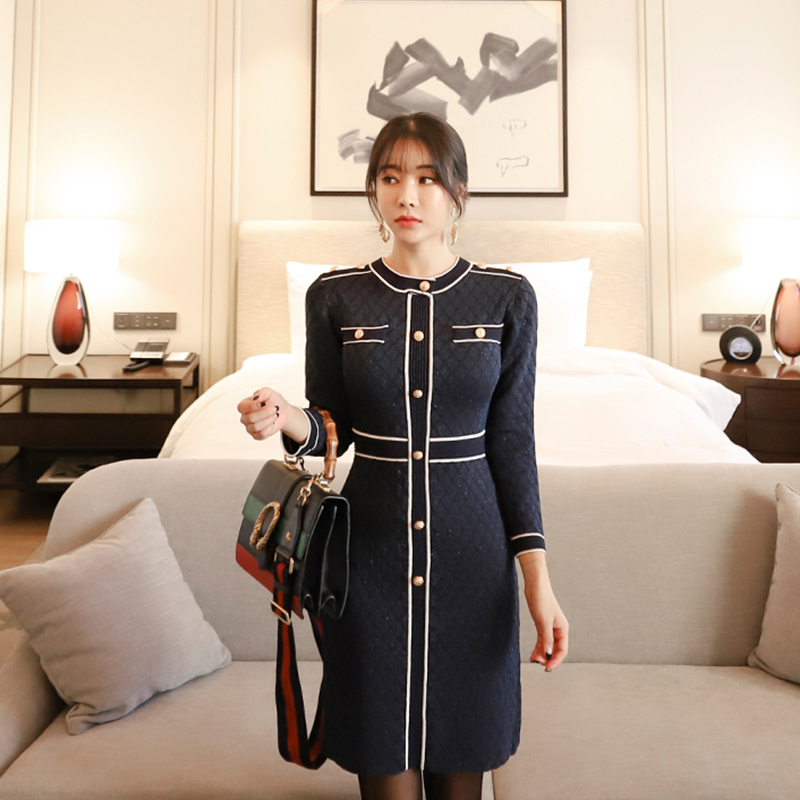 Autumn Outfit In The Vogue Of New Fund Of Han Edition Cultivate One's Morality Show Thin Long Sleeved Little Sweet Wind Dress