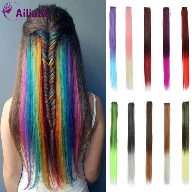 AILIADE 24 Inch Long Straight Clip In One Piece Hair Extensions Synthetic Two Tone Fake Hair For Girls And Women Pink Purple Red