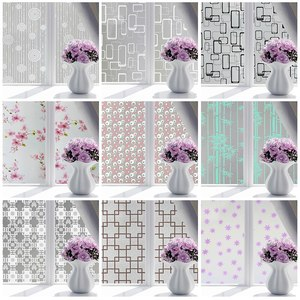 Bathroom Waterproof Butterfly Flower Privacy Window Film Frosted Glass Door Film Adhesive Window Cling Stickers Office