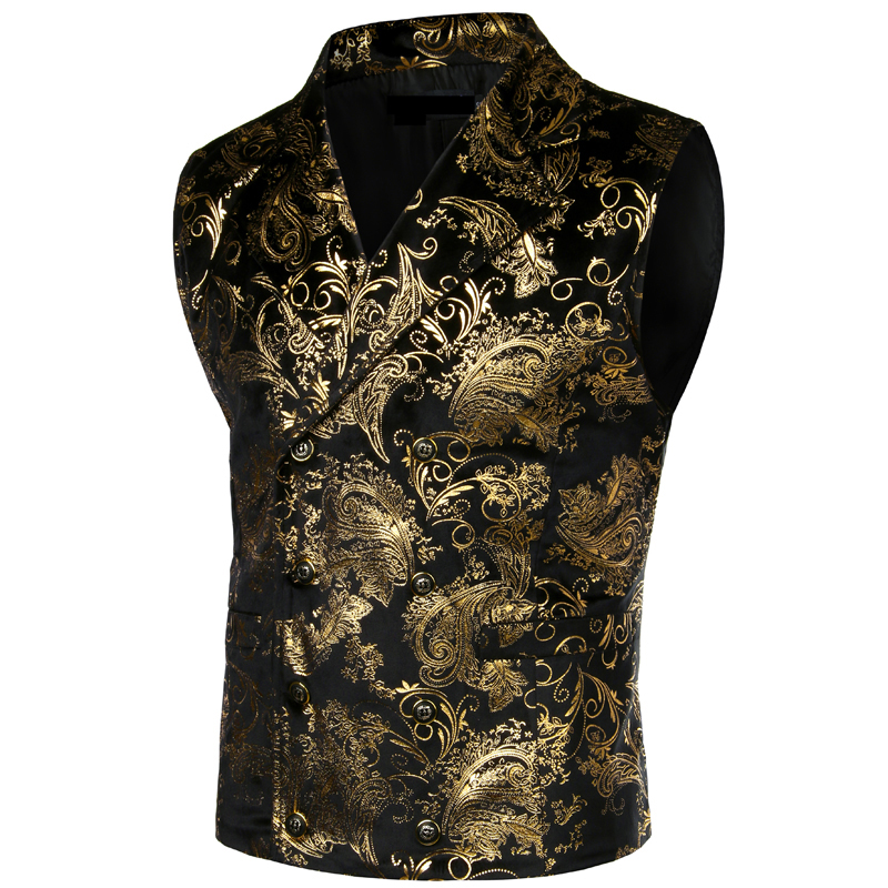 Mens Steampunk Victorian Gothic Cosplay Costume Vest Jacket Gold Paisley Jacquard Double Breasted Lapel Tuxedo Waistcoat Gilet
