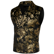 Mens Steampunk Victorian Gothic Cosplay Costume Vest Jacket Gold Paisl
