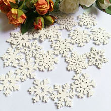 30PCs  Wood Sewing Buttons Scrapbooking Christmas Snowflake chip decorativos 35mm scrapbooking accessories