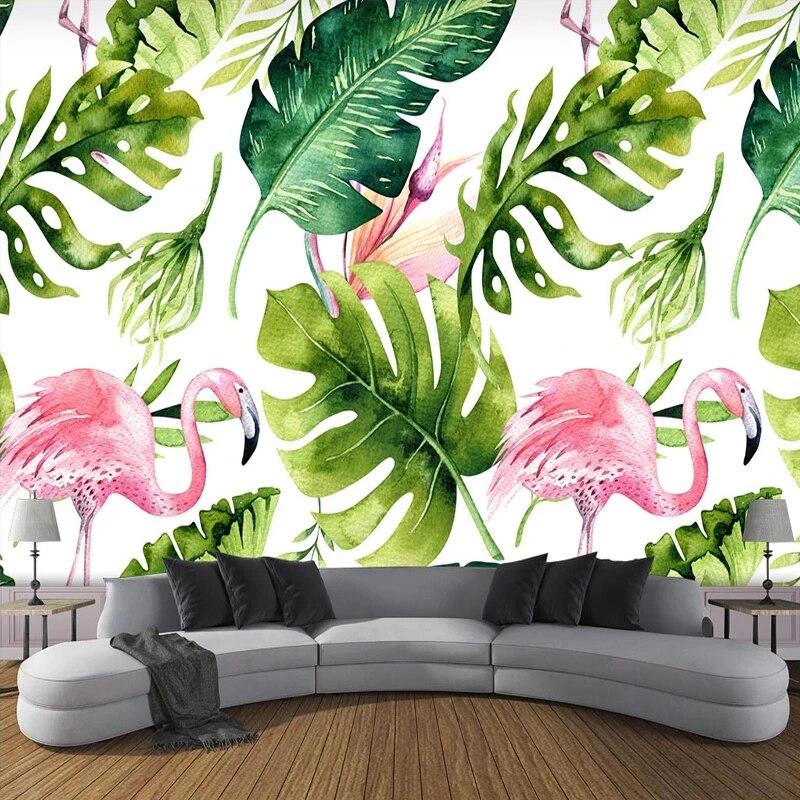 Watercolor Banana Leaf Flamingo Sofa TV Background Wall Flamingo Wallpaper Pink Desing Floral Bedrom