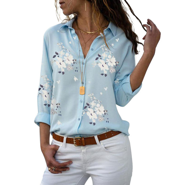 Long Sleeve Women Blouses 2019 Plus Size Turn-down Collar Blouse Shirt Casual Tops Elegant Work Wear Chiffon Shirts 5XL 2