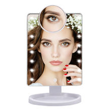 22 LED Light Touch Screen 1X 10X Magnifier Makeup Mirror Desktop Countertop Bright Adjustable USB Cable Or Battery Use 16 Lamp(China)