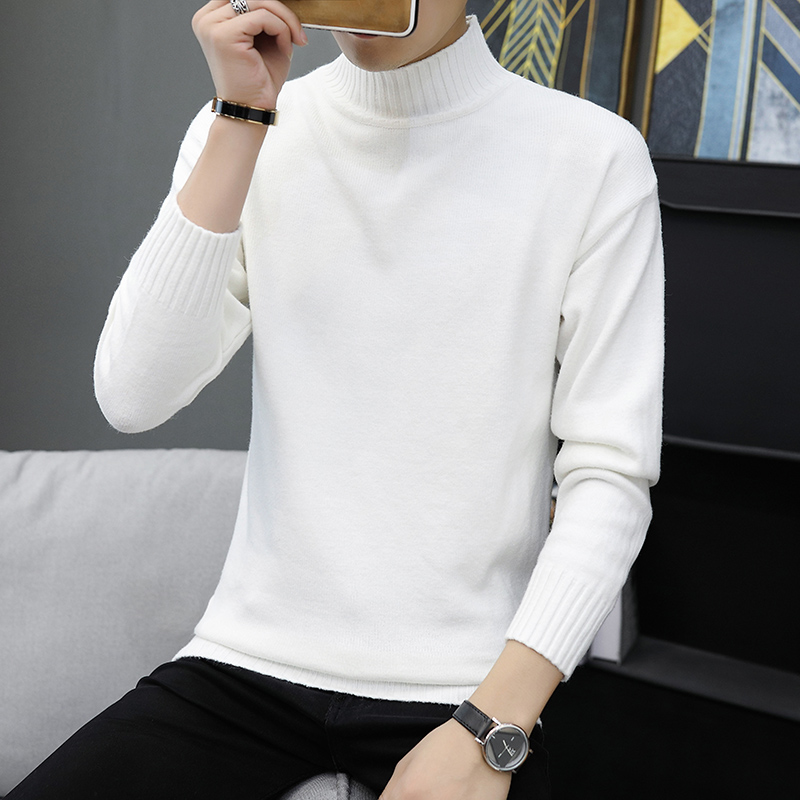 Turtleneck Sweater Pullovers Clothing Knitwear Mens Jumpers Slim-Fit Autumn Man Winter