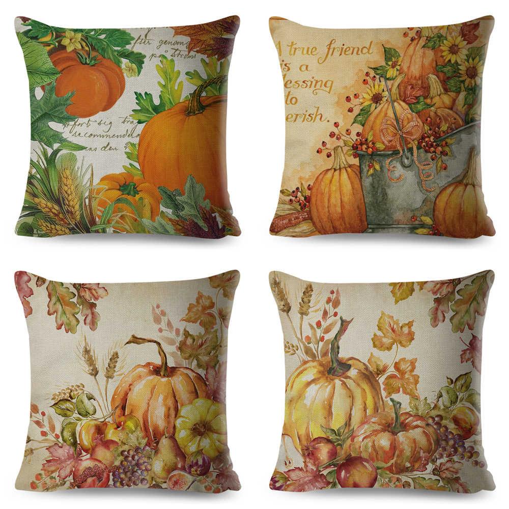 Watercolor Colorful Labu Bantal Kartun Katun Linen 45X45 Cm Sarung Bantal Sofa Dekorasi Rumah Tanaman Dicetak sarung Bantal