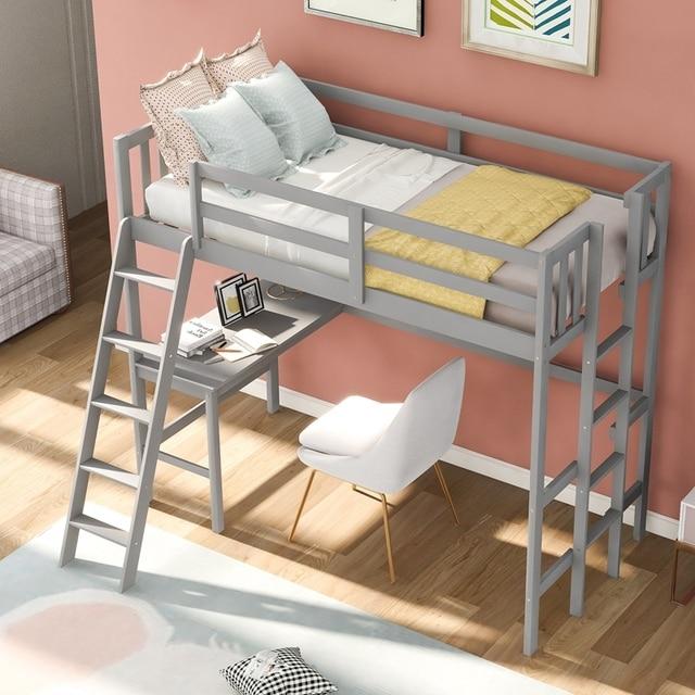 Solid Wooden Twin Loft Bed w/Desk & Ladder 5