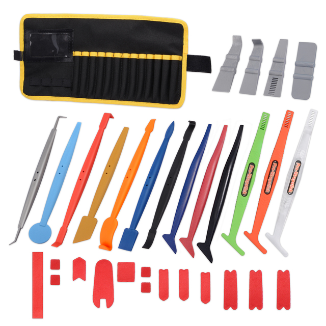 FOSHIO 32PCS Car Window Tint Tools Kit Magnetic Squeegee+Magnet Bag Car Tinting Scraper Carbon Fiber Vinyl Film Wrap Tools Set