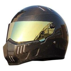Karting samochód kask fullface z włókna węglowego w stylu Vintage kask Moto kask motocyklowy mężczyźni lokomotywa samochód wyścigowy Anti-fog daszek XS-XXL