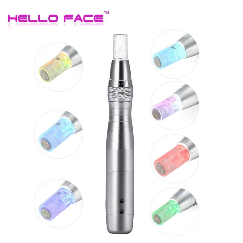 HELLO FACE Electric Derma Pen 7 Colors Lights LED Photon Pen With 12 Pin Adjustable Nano Micro Needle Face Care Tool