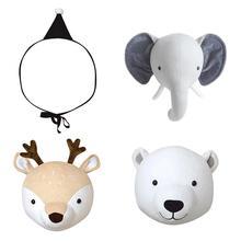 Ins стиль голова животного украшения плюшевая кукла игрушка детская комната имитация животного форма настенный подвесной стерео стиль кукла украшение