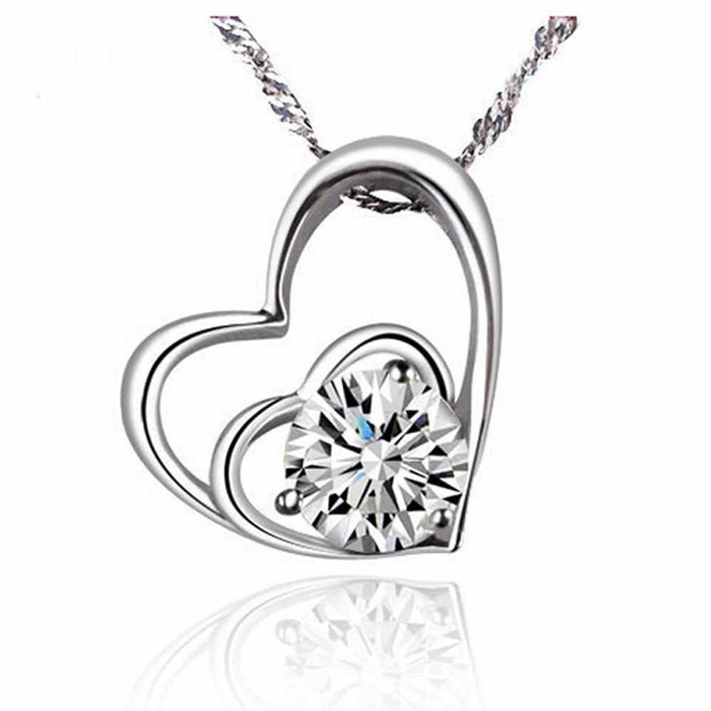 Sliver Crystal Kalung Ganda Hati Liontin Hati Cinta Kalung UNTUK WANITA Perhiasan Pernikahan untuk Anak Perempuan Dropshipping