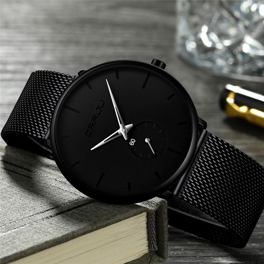 H39994cface73425ab99ff2a094965947f CRRJU Ultra Thin Blue Stainless steel Quartz Watches Men Simple Fashion Business Japan Wristwatch Clock Male Relogio Masculino